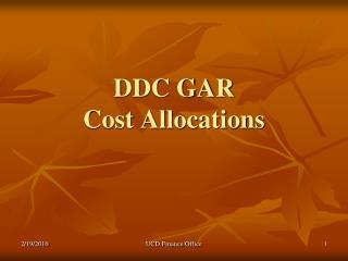 DDC GAR  Cost Allocations