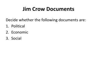 Jim Crow Documents