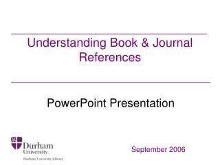 Understanding Book  Journal References