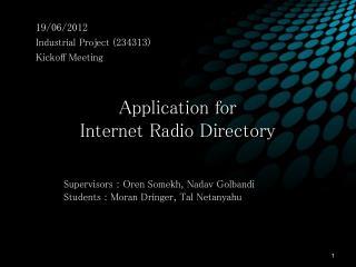 Application for Internet Radio Directory