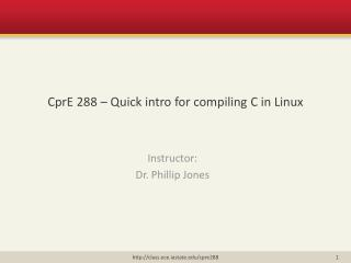 CprE  288 – Quick intro for compiling C in Linux