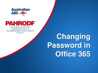 Changing Password in Office 365