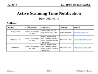 Active Scanning Time  Notification