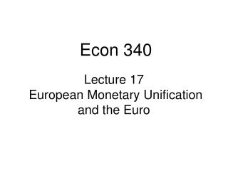 Lecture 17  European Monetary Unification and the Euro