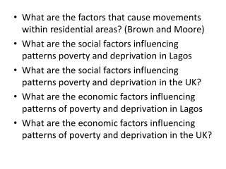 What are the factors that cause movements within residential areas? (Brown and Moore)