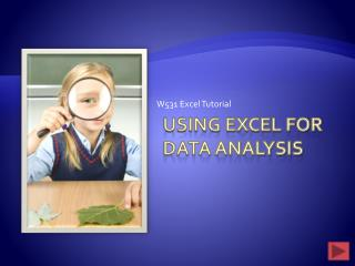 Using Excel for Data Analysis