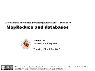 MapReduce and databases
