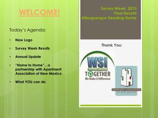 Survey Week, 2013 Final Results Albuquerque Heading Home