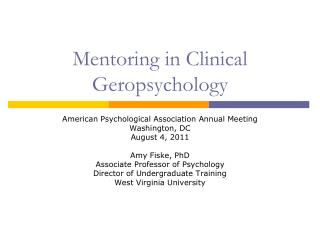 Mentoring in Clinical Geropsychology