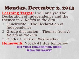 Monday ,  December 2,  2013