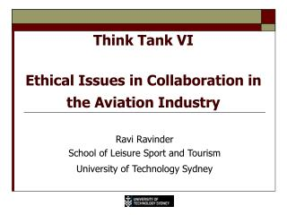 Think Tank VI  Ethical Issues in Collaboration in the Aviation Industry
