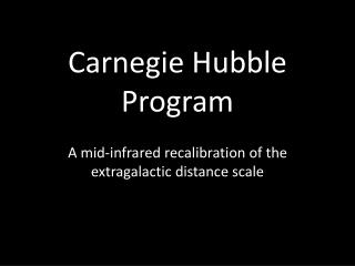 Carnegie Hubble  Program