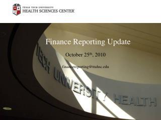 Finance Reporting Update