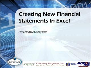 Creating New Financial Statements  In Excel