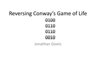 Reversing Conway's Game of Life