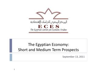 The Egyptian Economy:  Short and Medium Term Prospects