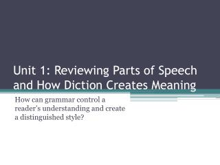Unit 1: Reviewing  Parts of Speech and How Diction Creates Meaning