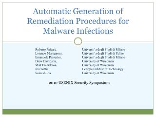 Automatic Generation of Remediation Procedures for Malware Infections