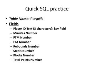 Quick SQL practice