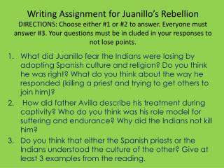 writing assignment for juanillos rebellion