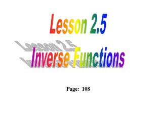 Lesson  2.5 Inverse Functions