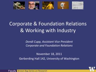 Corporate & Foundation Relations & Working with Industry