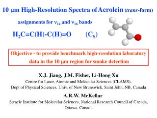 10 mm High-Resolution Spectra of Acrolein trans-form                assignments for n14 and n16 bands