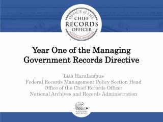 Year One of the Managing Government Records Directive