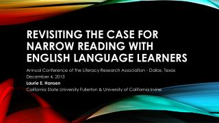 Revisiting the case for narrow reading with English language learners