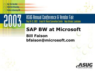 SAP BW at Microsoft