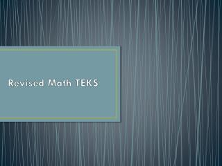 Revised Math TEKS