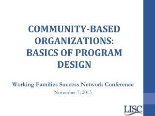 COMMUNITY-BASED ORGANIZATIONS: BASICS OF PROGRAM DESIGN