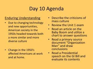 Day 10 Agenda