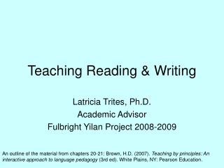 Teaching Reading  Writing