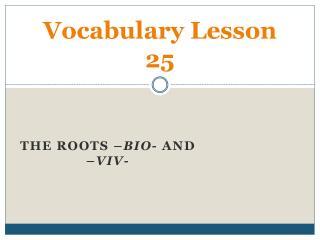 Vocabulary Lesson 25