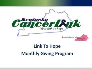 Link To Hope Monthly Giving Program