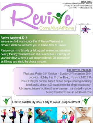 Booking Form   (Online Booking Also Available! Visit  HRCALLSTARS/revive-weekend)