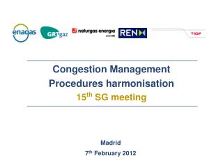 Congestion Management Procedures  harmonisation              15 th  SG  meeting