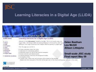 Learning Literacies in a Digital Age (LLiDA)