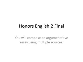 Honors English 2 Final