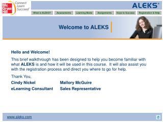 Welcome to ALEKS