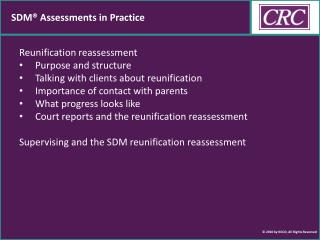 SDM® Assessments in Practice