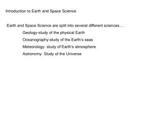 Introduction to Earth and Space Science