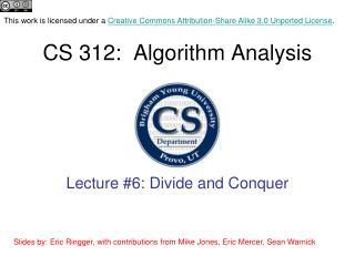 CS 312:  Algorithm Analysis