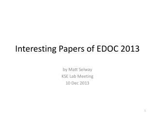 Interesting Papers of EDOC 2013