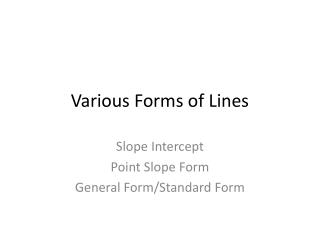 Various Forms of Lines