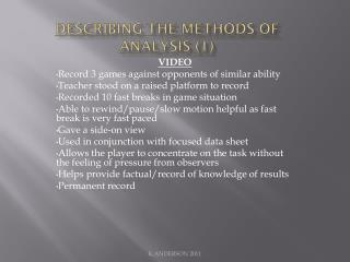 Describing the Methods of Analysis (1)