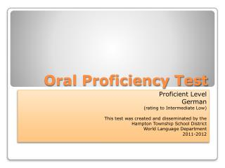 Oral Proficiency Test