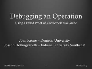 Debugging an  Operation
