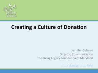 Creating a Culture of Donation
